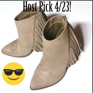 Shoes - HP! 💝 GUC Candies Vegan Fringe Suede Heeled Boots